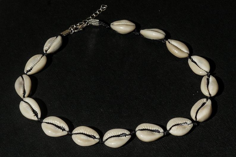 Cowry cowrie shell choker necklace on black macrame cord seashells holiday summer