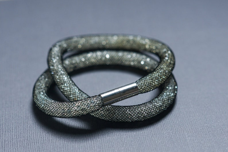 ce4846fc9f7ec Dark Silver Black Crystal Swarovski Stardust inspired Double Wrap Necklace  Bracelet Armband Choker Rhodium Magnetic Fastening