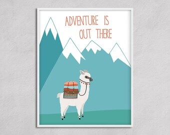 Adventure Alpaca Nursery Art Printable. Adventure Camping Big Boy Room Nursery Boy , Travel Nursery Large Wall Art Gender Neutral
