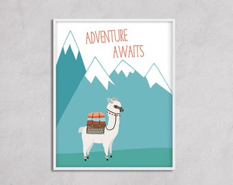 Adventure Awaits Alpaca Nursery Art Printable. Adventure Camping Big Boy Room Nursery Boy , Travel Nursery Large Wall Art Gender Neutral