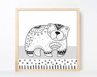 Tribal Bear Art Printable, Black and White Nursery Animal, Woodland Nursery Boho, Boy Wall Art Animal Bear, Zoo Nursery Art Scandinavian Art