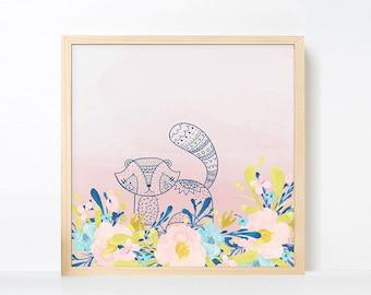 Tribal Raccoon Watercolor Nursery Art, Boho Nursery Girl Room Artwork , Pink Navy Nursery Printable, Instant Download Boho Nursery Art Pink