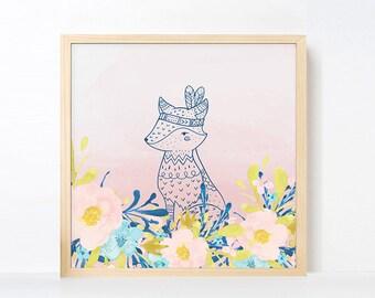 Tribal Fox Watercolor Nursery Art, Boho Nursery Girl Room Bird Artwork , Pink Navy Nursery Printable, Instant Download Boho Nursery Art Pink