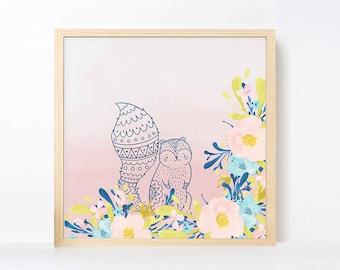 Tribal Squirrel Watercolor Nursery Art, Boho Nursery Girl Room Artwork , Pink Navy Nursery Printable, Instant Download Boho Nursery Art Pink