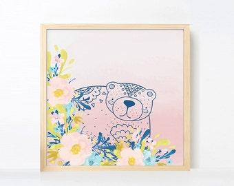 Tribal Bear Watercolor Nursery Art, Boho Nursery Girl Room Artwork , Pink Navy Nursery Printable, Instant Download Boho Nursery Art Pink