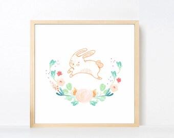 Bunny Art Printable, Peach Aqua Green Rabbit Wall Art, Watercolor Flowers Nursery Art Girl Animal, Pastel Peach Mint Artwork Square Large