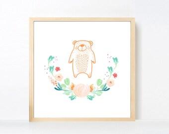 Bear Art Printable, Peach Aqua Green Bear Wall Art, Woodland Nursery Girl, Watercolor Flowers Nursery Art Girl Animal, Animal Artwork