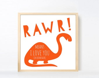 Dinosaur Art Printable, Rawr Means I Love You Wall Art, Brontosaurus Wall Art, Boy Room Art, Dinosaur Printable, Orange Nursery Boy, Square