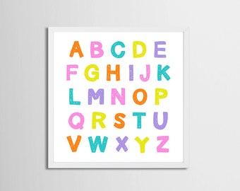 Alphabet Art Printable Candy Colors, Nursery Art Girl , Playroom Wall Art Alphabet, Letters Printable, Toddler Room Artwork Pink Purple Art