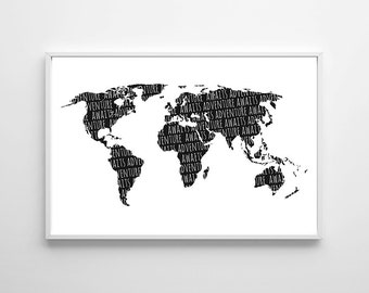Adventure Awaits Art Printable, Large Adventure Poster Art, Nursery Adventure Art, Black White Nursery Boy Wall Art Travel World Map Poster