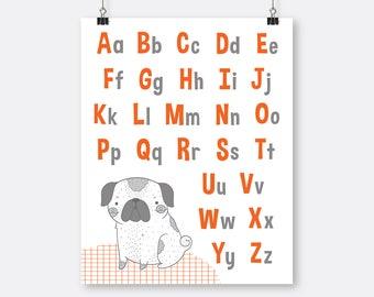 Orange Alphabet Art Printable Pug Puppy , Toddler  Wall Art Alphabet, Letters Printable, Toddler Room Wall Art, Orange Big Boy Room Wall Art