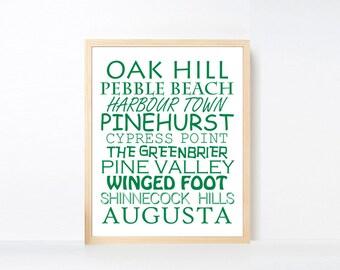 Green Golf Courses Art Printable, Famous Golf Course Wall Art, Sports Nursery Art, Nursery Golf Big Boy Room, Golf Baby Shower Printable Art