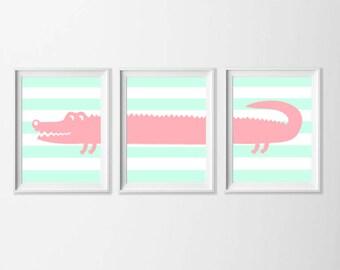 Alligator Art Printable, Pink Mint Green Pastel Nursery Art , Safari Wall Art, Nursery Girl Set of 3 Wall Art, Zoo  Bathroom, 5x7 Wall Art