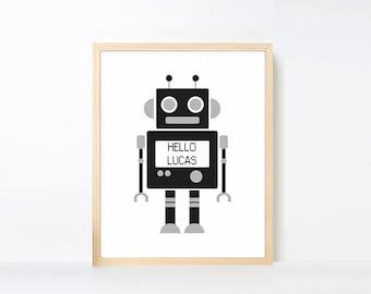 Personalized Robot Art Printable, Name Art Big Boy Room, Black White Nursery, Robot Nursery Art, Boy Playroom Decor, Nursery Robot Artwork