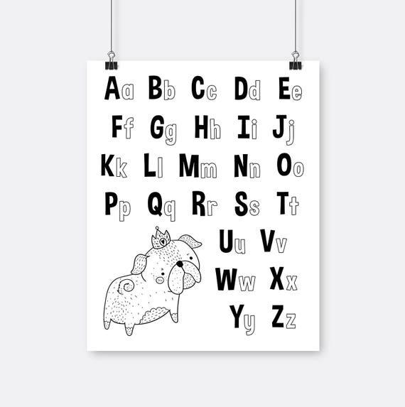 Pug alfabeto arte blanco negro para imprimir para colorear | Etsy