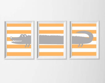 Alligator Art Instant Download, Orange Gray Nursery Art , Toddler Safari Wall Art, Nursery Boy Wall Art, Zoo Safari Bathroom, 8x10 Wall Art