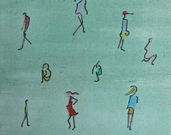 Fifteen people - small painting