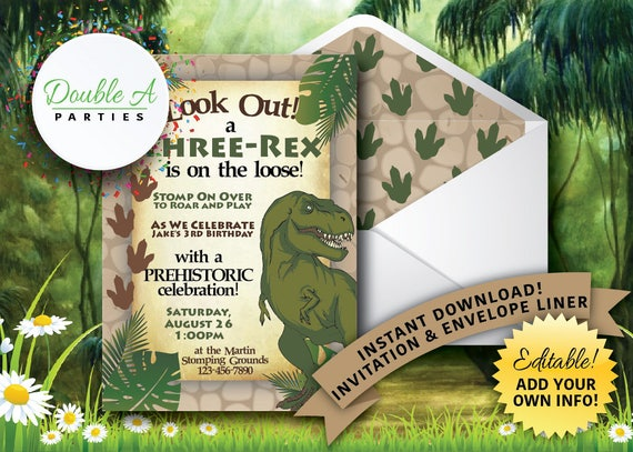 Three Rex Birthday Party Invitation Boy