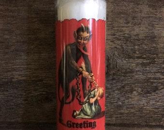 Krampus Prayer Candle, Devil w/ girl