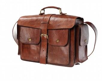 Leather Briefcase, Leather Bag, Brown Leather Messenger Bag, Mens Briefcase, Leather Laptop Bag, Leather Shoulder Bag, Dutch Design