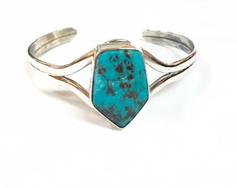 Native American Navajo handmade sterling silver cuff bracelet set with Nevada turquoise