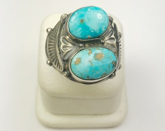 Native American Navajo Handmade Sterling Silver Blue Gem Turquoise Ring
