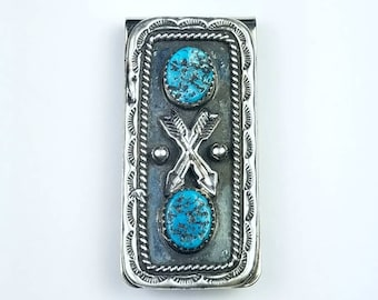 Native American Navajo handmade Sterling Silver Kingman Turquoise stone money clip