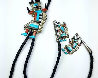 Vintage Native American Zuni handmade Sterling Silver inlay Turquoise, Coral, Onyx, Mother of Pearl stone bolo tie