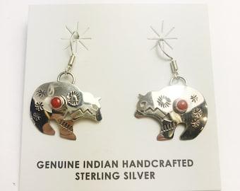 Native American Navajo Handmade Sterling Silver Bear Coral Earrings