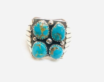 Native American Navajo handmade sterling silver turquoise men's/women's ring