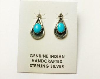 Native American Navajo Handmade Sterling Silver Casstle Dome Earrings
