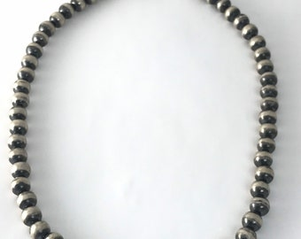 Native American Navajo Antiqued Finish Sterling Silver Bead Necklace
