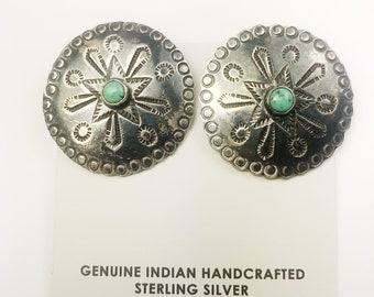 Native American Navajo Handmade Sterling Silver Royston Turquoise Clip Earrings
