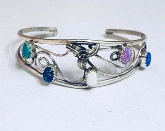 Native American Navajo Handmade Sterling Silver and Opal Cuff Bracelet