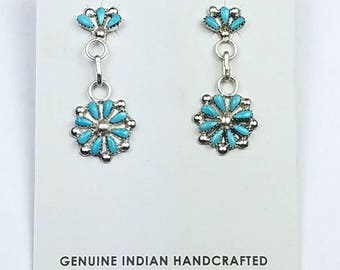Native American Zuni handmade Sterling Silver Sleeping Beauty Turquoise needle point post earrings