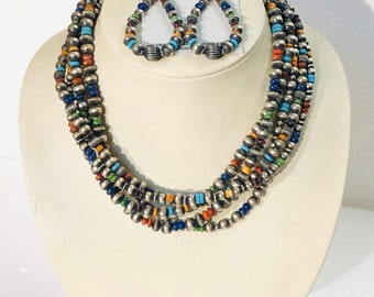 Native American Navajo handmade sterling silver and multicolored 5 strand beaded 2 piece necklace set