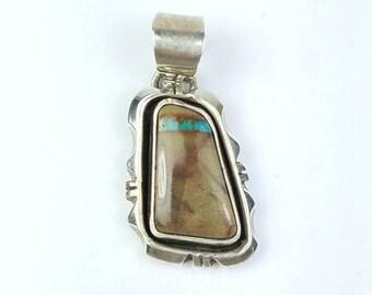 Native American Navajo handmade Sterling Silver multi-stone pendant
