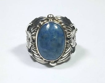 Native American Navajo handmade Sterling Silver Denim Lapis ring