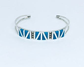 Native American Handmade Zuni Inlay Sterling Silver and Sleeping Beauty Turquoise Cuff Bracelet