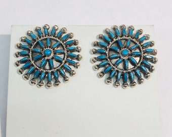 Native American Zuni handmade Sterling Silver needle point Sleeping Beauty Turquoise post earrings