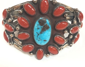Vintage Native American Navajo Handmade Sterling Silver Turquoise and Mediterranean coral