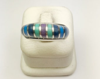 Native American Navajo Handmade Sterling Silver Turquosie Lapiz Inlay Ring