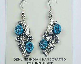 Native American Navajo handmade Sterling Silver Kingman Turquoise dangle earrings