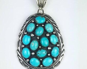 Native American Navajo handmade Sterling Silver Kingman Turquoise stone pendant