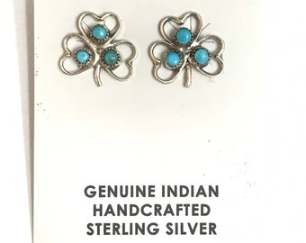Native American Navajo Handmade Sterling Silver Turquoise Heart Stud Earrings