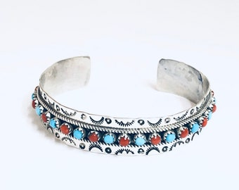 Native America Zuni Handmade Sterling Silver Sleeping Beauty Turquoise and Coral cuff Bracelets