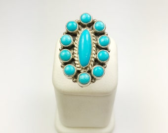 Native American Navajo Handmade Sterling Silver Sleeping Beauty Turquoise