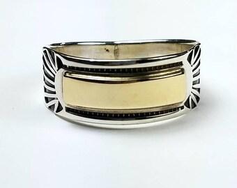 Native American Navajo handmade Sterling Silver 14k Gold overlay ring