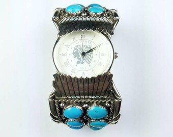 Native American Navajo handmade Sterling Silver Kingman Turquoise stone cuff watch