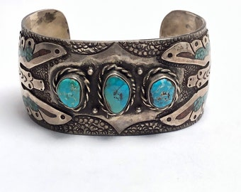 Estate Jewelry 1970's Native American Handmade Navajo Sterling Silver and Turquoise Cuff Bracelet